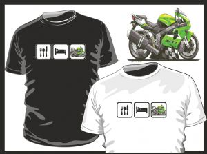 KOOLART EAT SLEEP Design for Green Kawasaki Ninja Motorcycle mens or ladyfit t-shirt